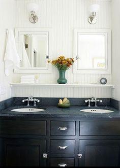Black cabinets, black counter. Master bath inspiration.