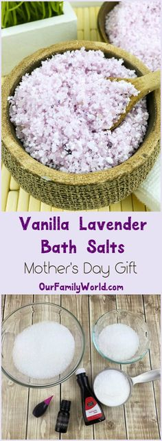 Give mom the gift of relaxation with this easy DIY Vanilla lavender bath salts Mother's Day gift idea! It's easy to make yet so luxurious! für Mama Luxurious Vanilla Lavender Bath Salt Recipe for Mother's Day Mothers Day Crafts, Mother Day Gifts, Mothers Day Ideas, Mom Gifts, Mothers Day Gifts Easy, Mothers Day Presents, Homemade Beauty, Homemade Gifts, Easy Diy Gifts