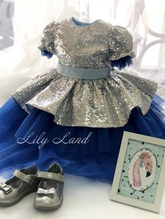 Flower girl dress silver sequin with royal blue tutu dress baby tutu dress kids toddler girl dress size 1 2 3 4 5 6 7 8 10 mounth Bridesmaid