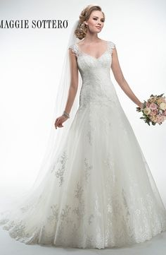V-Neck A-Line Wedding Dress  with Dropped Waist in Tulle. Bridal Gown Style Number:32953051