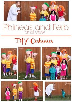 Phineas and Ferb and crew DIY Halloween costumes