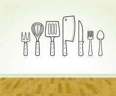 Food Utensils Kitchen Restaurant Food Service Business Logo Vinyl Decal Sticker