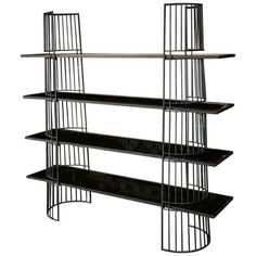 Simple Curved Black Metal Shelving with Black Mirrored Glass  1