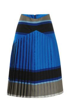 Striped Double-Face Pleated Skirt by Ostwald Helgason Now Available on Moda Operandi