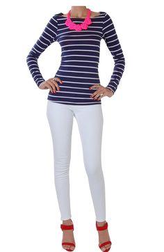 Classic Striped Long Sleeve Tee - Boatneck Nautical T Shirt - Humblechic.com