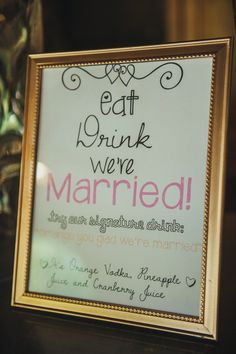 Printable Bar/Drink Menu SignWedding Signature by RomanticSouthern, $10.00