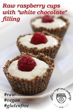 Raw raspberry cups with white chocolate filling