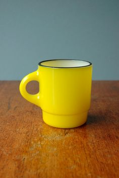 Bright Yellow Fire King Mug