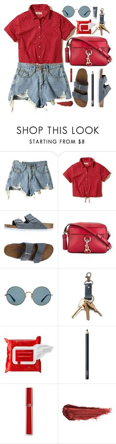 """July Fourth"" by virginia-laurie ❤ liked on Polyvore featuring Hollister Co., Birkenstock, Rebecca Minkoff, Ray-Ban, Sephora Collection, NARS Cosmetics, Giorgio Armani, By Terry and Origins"