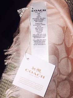 Coach Signature Wrap Wool and Silk Blend Scarf - Pink - NWT #Coach