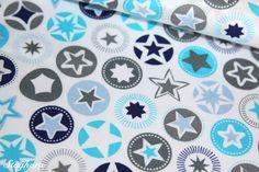 Stenzo brandneuer Baumwollstoff Sterne blau grau