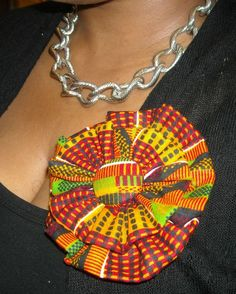 African Fabric Flower Brooch/ Hair Clip