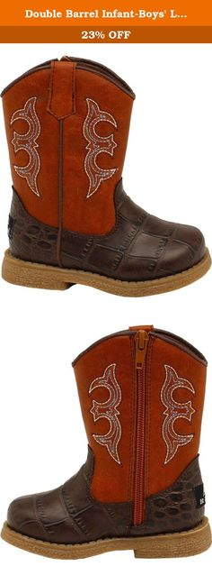 Double Barrel Infant-Boys' Lil' Bronc Boot Square Toe Brown 3 US. With Double Barrel boots, any young cowpoke can make a stylish western impression These Bronc Children's Zip Boots are made from synthetic leather and feature a striking gator skin print on the vamp, a contoured removable insole, and a custom TPR outsole. So these handsome Double Barrel Bronc toddler cowboy boots look as cool as they'll feel for your little one.