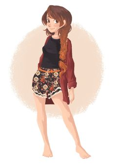 """Pucca, """"Cute and comfy springtime fashion <3 I looove love love love LOVE drawing floral prints! I'm pretty happy with how the shorts came out this time around <3"""""""