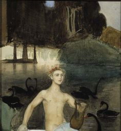 Artwork by Magnus Enckell, Faun, 1914 Made of Painting: oil on canvas Sphynx, Mural Painting, Painting & Drawing, Stockholm, Meaningful Paintings, Greek Pantheon, National Gallery, Nordic Art, Costumes