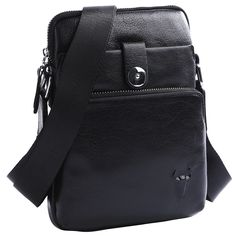 This beautifully crafted, quality leather messenger bag is versatile and functional. It is a great size for keeping your everyday essentials organized and right at your fingertips. It is worn across the body with an adjustable cloth strap.  This small satchel is made from midnight black genuine, shiny leather with silver metal styling details. It features two outer zipper pockets along with one outer flap pocket secured by a silver metal clasp. The main zipper compartment is cloth lined and…