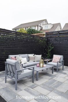 Garden Patio Area makeover, custom built black wooden privacy screen, grey slabbed area. Outdoor Sofa, Outdoor Furniture Sets, Outdoor Decor, Garden Slabs, Amazing Spaces, Metal Chairs, Diy Patio, Modern Spaces, Dining Table Chairs
