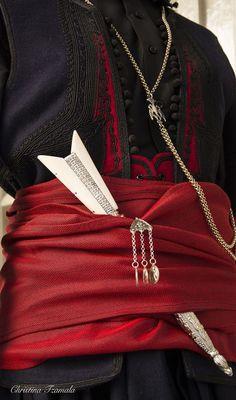 Amazing Traditional Cretan costume from Sfakia Crete: Greek Traditional Dress, Authentic Costumes, Warrior Outfit, Greece Photography, Crete Island, Go Greek, Heraklion, Crete Greece, Folk Costume