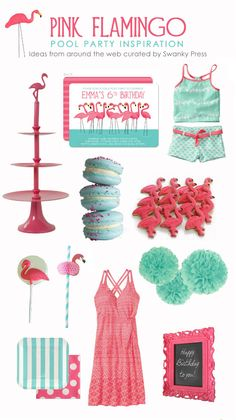 A Pink Flamingo Pool Party :: Party Inspiration - Party printables, themed parties and party inspiration Pink Flamingo Party, Flamingo Pool, Flamingo Birthday, Pink Flamingos, Flamingo Art, Summer Birthday, 1st Birthday Parties, Girl Birthday, Birthday Ideas