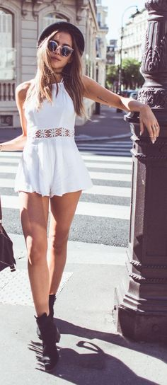 Lace Trim Romper Streetstyle by Kenzas