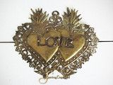 "Double Sacred Heart Gold Tin Ex-Voto - ""Love Milagro"" - 5"" tall"