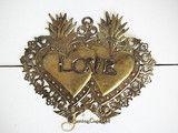 "Double Sacred Heart Gold Tin Ex-Voto - ""Love Milagro"" - 5"" tall"
