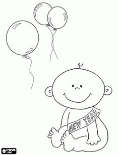 Baby New Year, new year was born coloring page