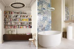 In Stockholm, the entry also functions as a library. Right: the bathroom wall is covered with mismatched Portuguese tiles. Photo by Henry Bourne.
