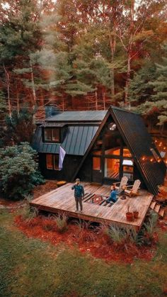 Tiny House Cabin, Tiny House Design, Cabin Homes, Wood Homes, Cabin Design, A Frame House Plans, A Frame Cabin, A Frame Homes, Casas The Sims 4