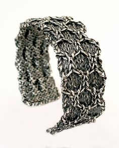 solid sterling silver casting of handmade knitting by ashflowers @ Etsy