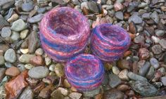 'Red sky at night' set of 3 needle felted vessels £30.00