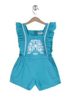 Turquoise romper, peasant stitching, ruffles