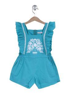 Turquoise romper,  peasant stitching, ruffles