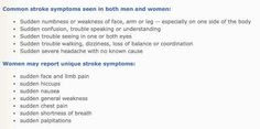 Women and men have different stroke symptons.   ..20 Facts That Should Be Common Knowledge But Aren't