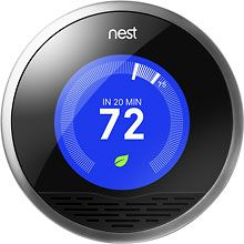 """Nest Learning Thermostat $249 - The """"ipod of thermostats"""". Nate is particularly excited about this new thermostat that learns from your adjustments over time and auto-adjusts throughout the day. Created by one of the designers of the ipad. Read more here: http://www.nytimes.com/2011/12/01/technology/personaltech/nest-learning-thermostat-sets-a-standard-david-pogue.html"""