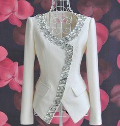 Honorable Scoop Collar White Gemstone Hem Waisted Slimming Long Sleeves Design C… Summer Dresses With Sleeves, Casual Dresses, Fashion Dresses, Fashion Coat, Fashion Clothes, Fashion Fashion, Trendy Fashion, Modelos Fashion, Clothing Sites