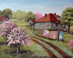 Folk Art Print Grandma's Quilts Old Woman House Road Pink Flowering Tree Cow Landscape Country Scene Arie Reinhardt Taylor by jagartist on Etsy