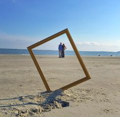 Fun with a frame on the beach