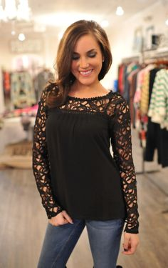 Dottie Couture Boutique - Lace Top- Black, $46.00 (http://www.dottiecouture.com/lace-top-black/)