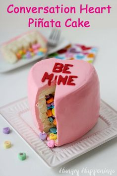 Conversation Heart Piñata Cake ~ tutorial