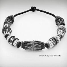 Handmade Jewelry Fiber Bead Statement Necklace by ThousandKnots