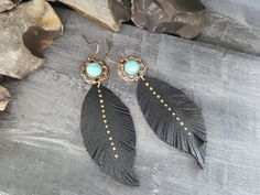 Tribal earrings. Leather earrings. Turquoise by VelmaJewelry