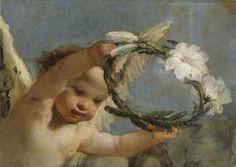 Giovanni Battista Tiepolo, also know as Gianbattista or Giambattista Tiepolo (Venice 1696 - 1770 Madrid), Angel with Crown of Azucenas, 1767-1769, Museo del Prado