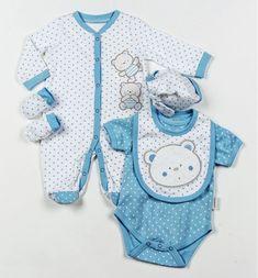 Подарочный комплект для новорожденных (мальчик), 5 предметов: слип, боди, царапки, нагрудник, шапочка. На вешалке, в сетчатом мешке. Размеры 3-6 мес. Великобритания, AADVARK.