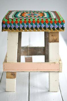 stool- crochet this on Tim's new stool!