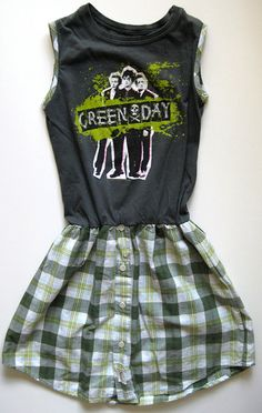 Vintage Green Day Shirt Dress