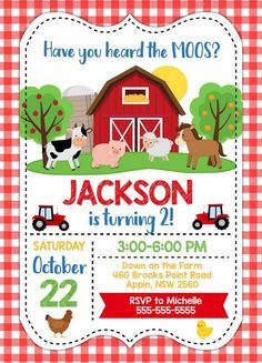 Farm Party Invitation Template for Your Kids' Birthday PartyAn invitation is one of the most important things you should care about when it comes to any events, including your toddlers' birthday party. If you are looking for a unique invitation for y Party Animals, Farm Animal Party, Farm Animal Birthday, Farm Birthday, Farm Party Kids, Barnyard Party, Birthday Party Invitations Free, Birthday Invitation Templates, Invitation Ideas