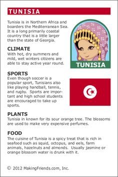 MakingFriends Facts about Tunisia Printable Thinking Day fact card for our passports. Perfect if you chose Tunisia for your Girl Scout Thinking Day or International Night celebration. Continents And Countries, Countries Of The World, Gs World, Around The World Theme, Little Passports, World Geography, Teaching Geography, Worksheets, World Thinking Day