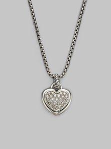 a85fc7de527e08 David Yurman - Diamond & Sterling Silver Heart Necklace Sterling Silver  Heart Necklace, Cute Necklace