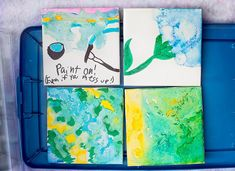 Watercolor Coasters - Tryazon and Deflecto Organization Sharpie Markers, Watercolor Effects, Ice Cream Party, Rubbing Alcohol, Permanent Marker, Happy Summer, Craft Party, Family Gifts, Projects For Kids